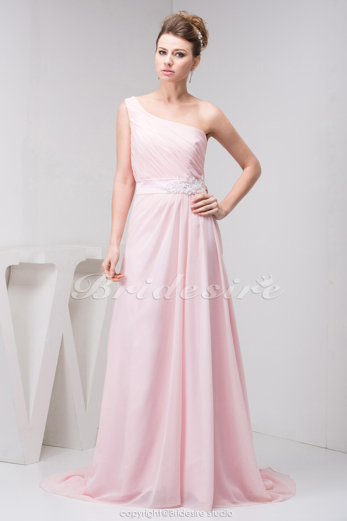 A-line One Shoulder Floor-length Sleeveless Chiffon Bridesmaid Dress