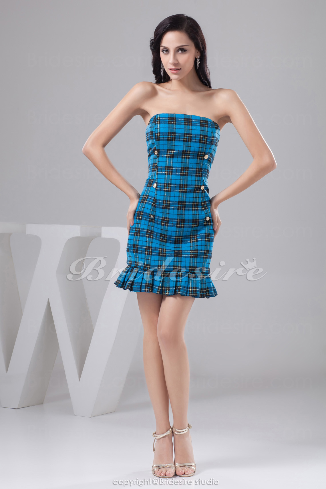 Sheath/Column Strapless Short/Mini Sleeveless Taffeta Dress