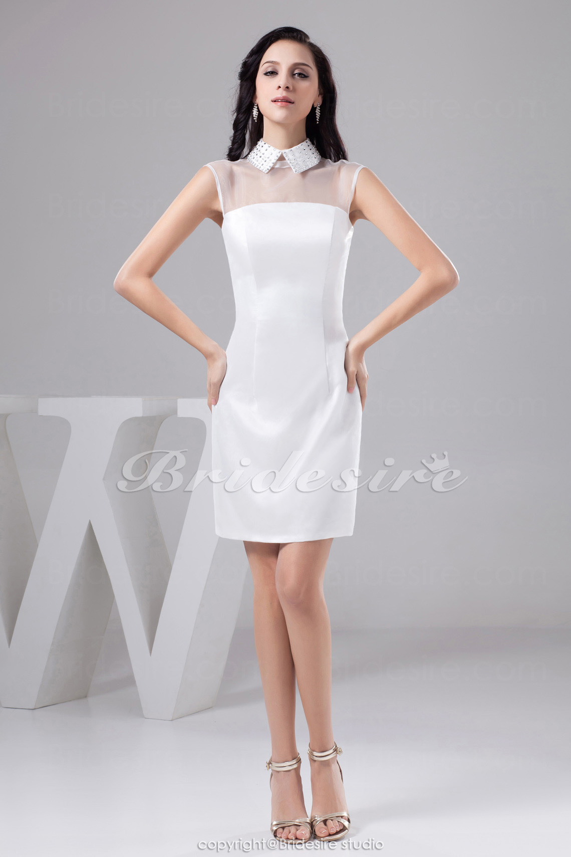 Sheath/Column High Neck Short/Mini Sleeveless Organza Satin Dress