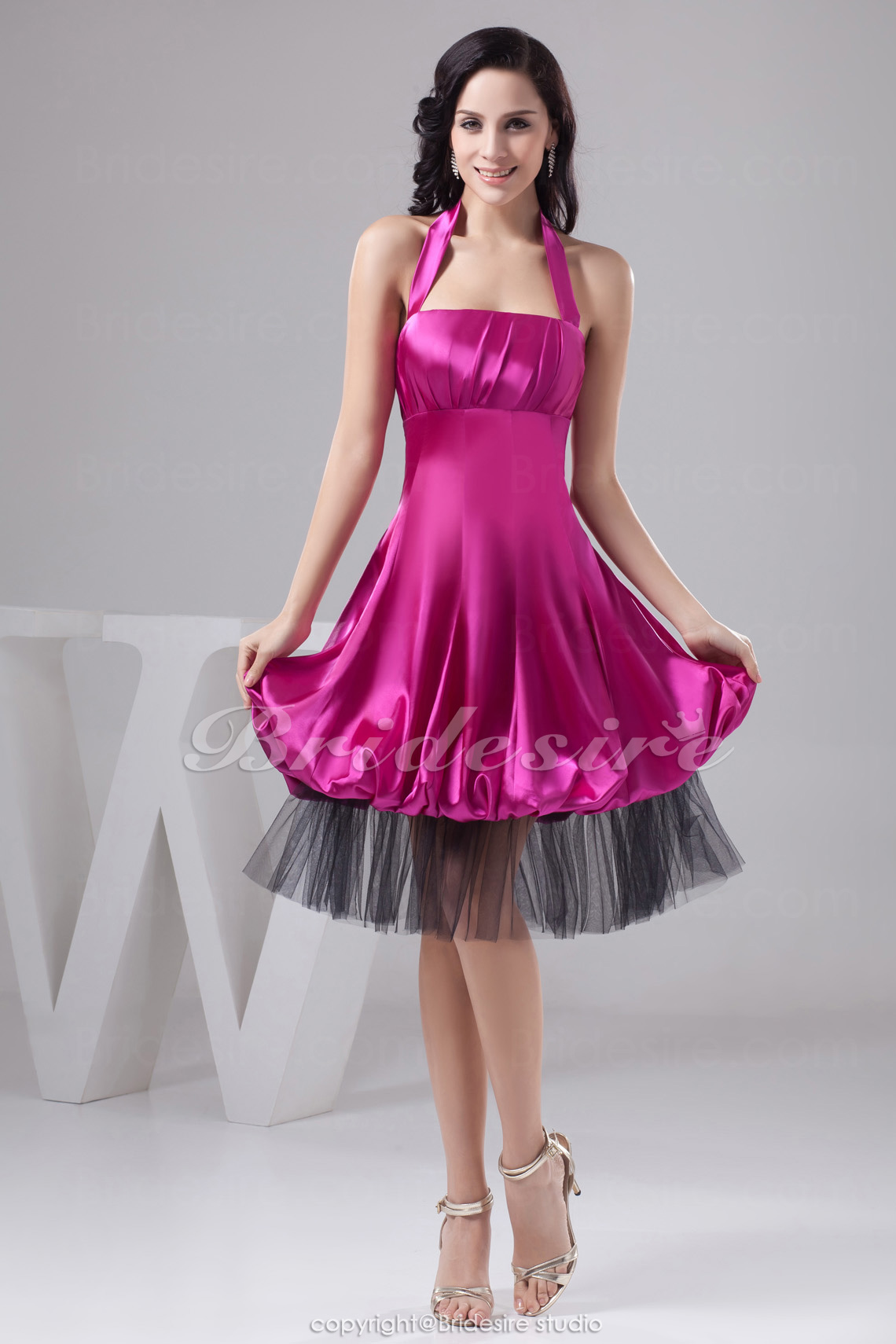 A-line Halter Tea-length Sleeveless Satin Tulle Dress