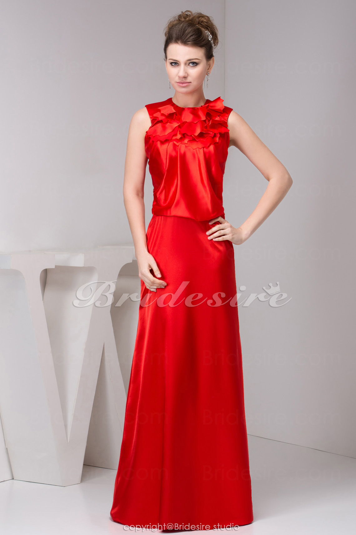 A-line Scoop Floor-length Sleeveless Satin Dress