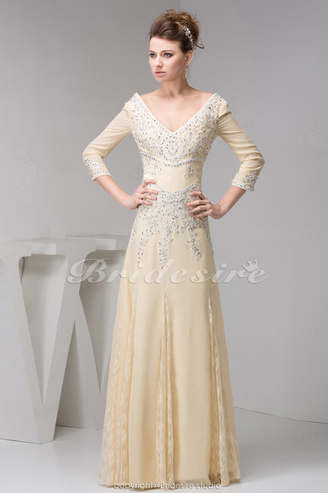 A-line V-neck Floor-length 3/4 Length Sleeve Chiffon Mother of the Bride Dress