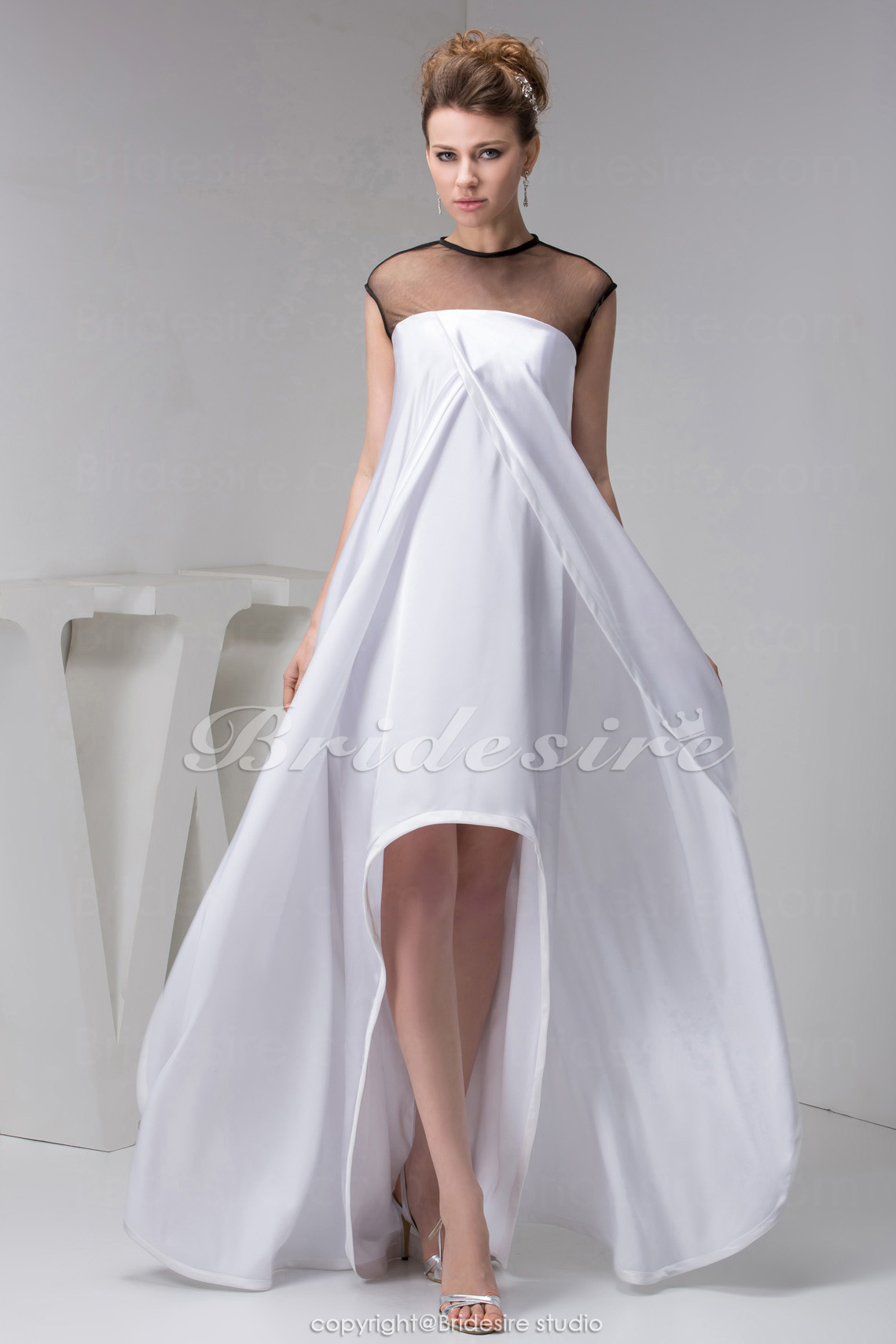 A-line Scoop Floor-length Sleeveless Satin Tulle Dress
