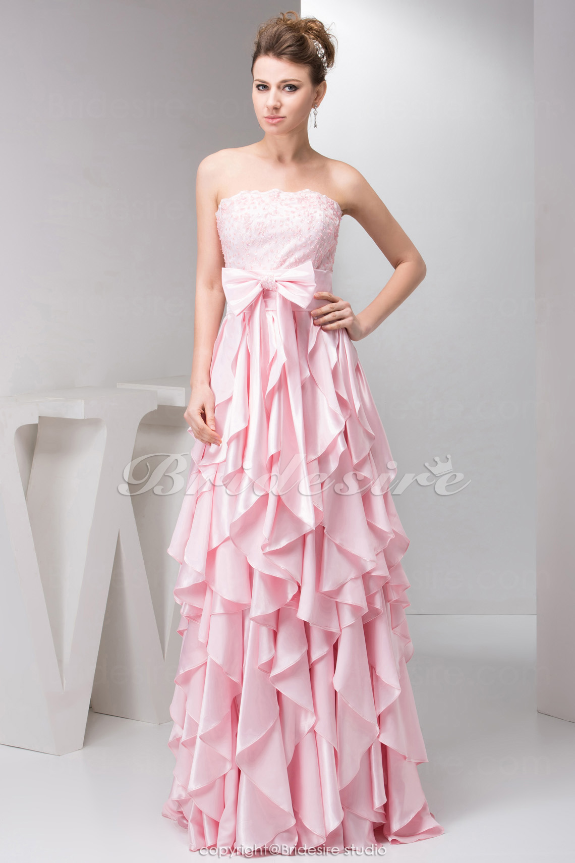 Sheath/Column Strapless Floor-length Sleeveless Stretch Satin Dress