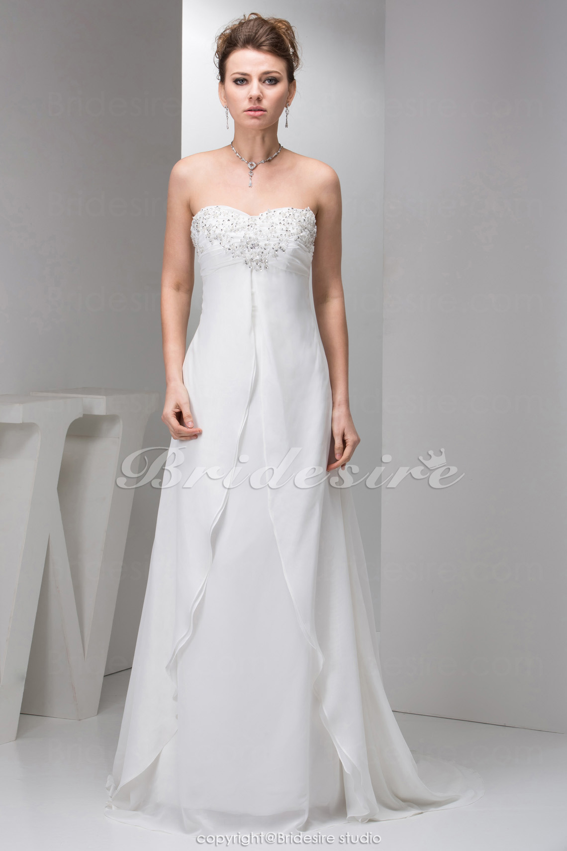 A-line Strapless Court Train Sleeveless Chiffon Wedding Dress