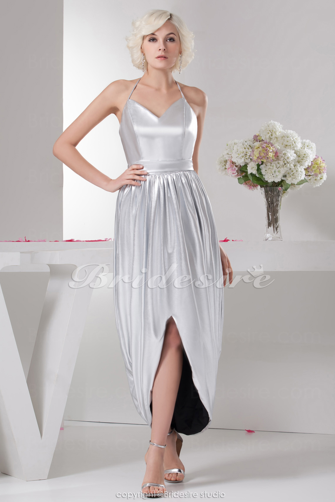 A-line Halter Tea-length Sleeveless Elastic Silk-like Satin Bridesmaid Dress