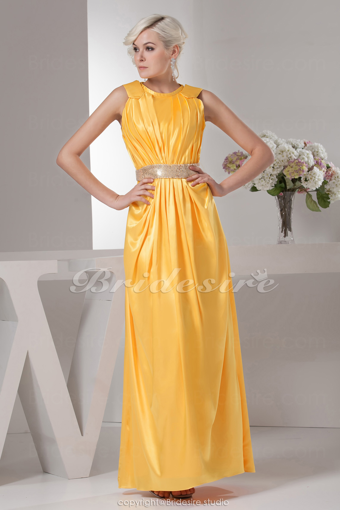 A-line Jewel Floor-length Sleeveless Stretch Satin Mother of the Bride Dress