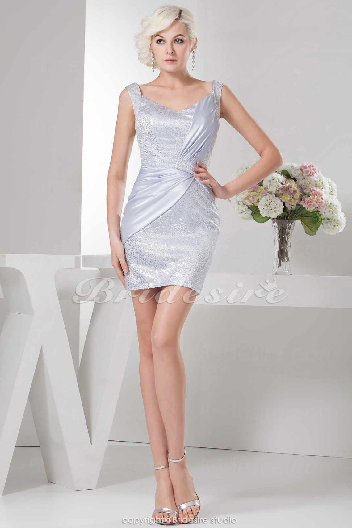 Sheath/Column Square Short/Mini Sleeveless Elastic Silk-like Satin Satin Dress