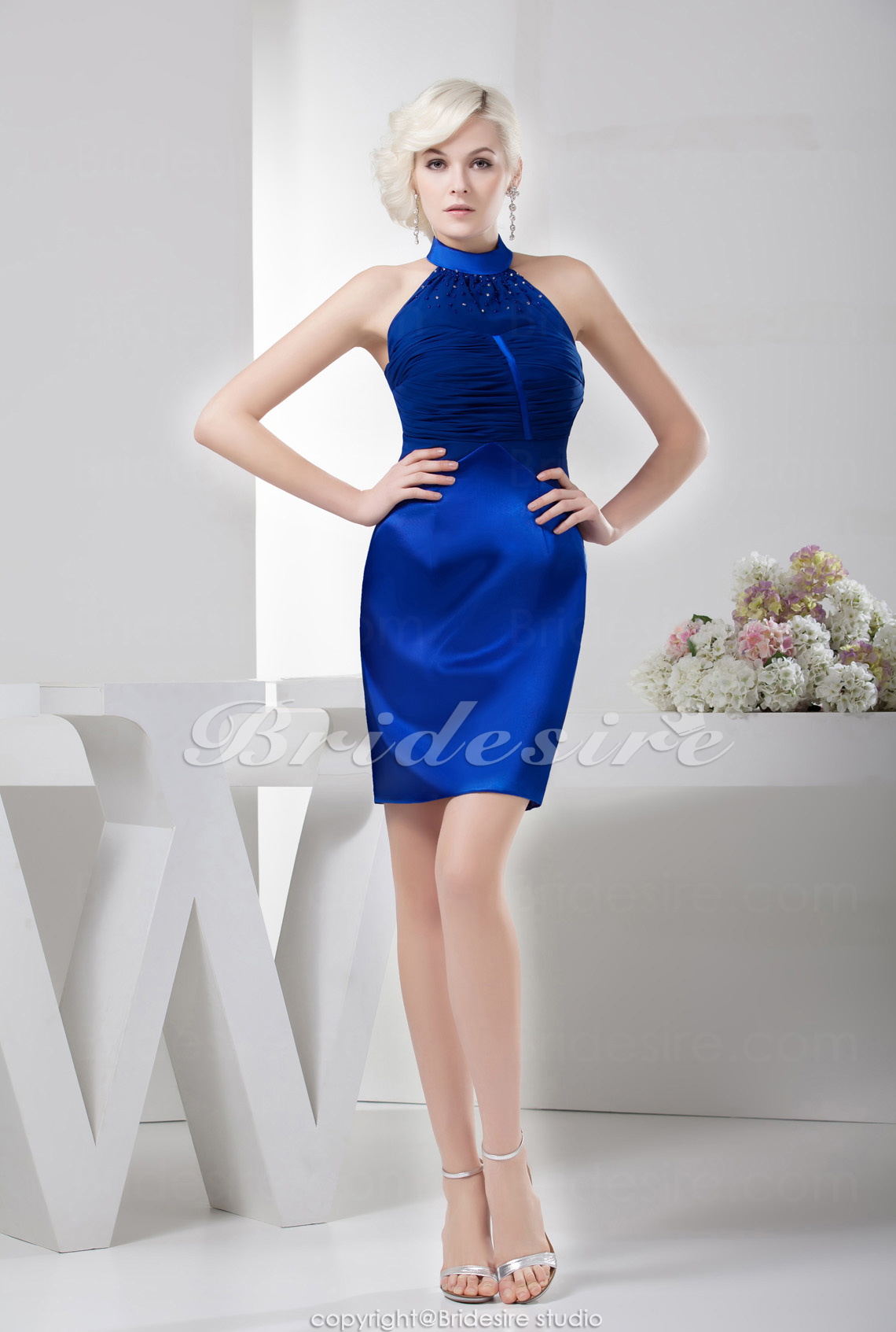 Sheath/Column High Neck Knee-length Sleeveless Satin Dress
