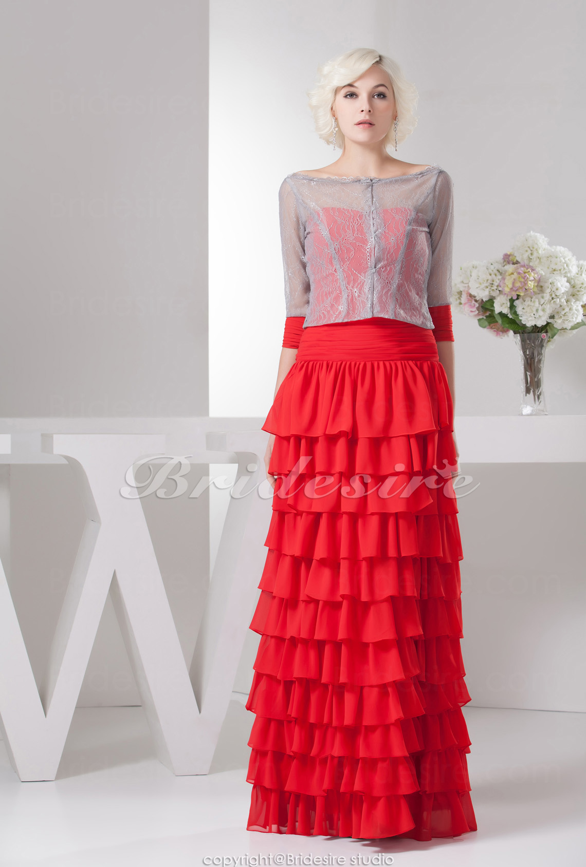 Sheath/Column Bateau Floor-length 3/4 Length Sleeve Chiffon Satin Dress