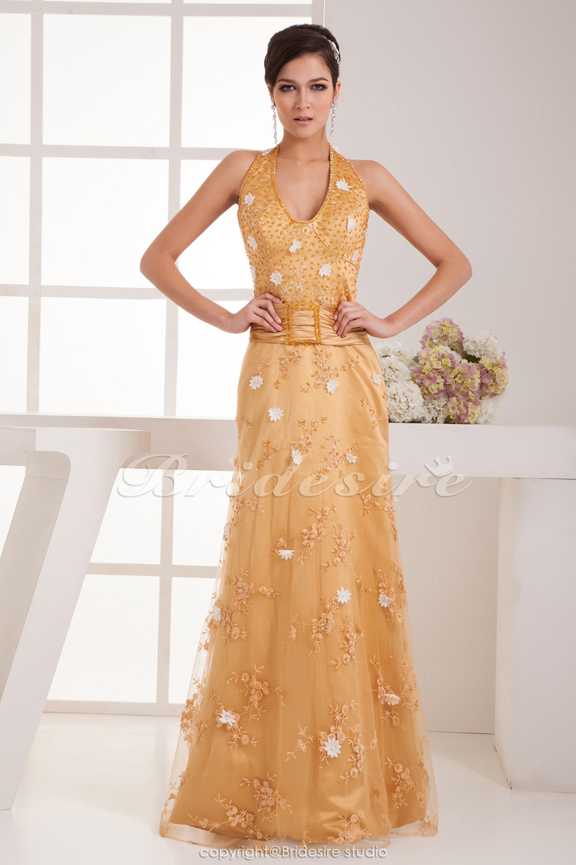 A-line Halter Floor-length Sleeveless Satin Dress
