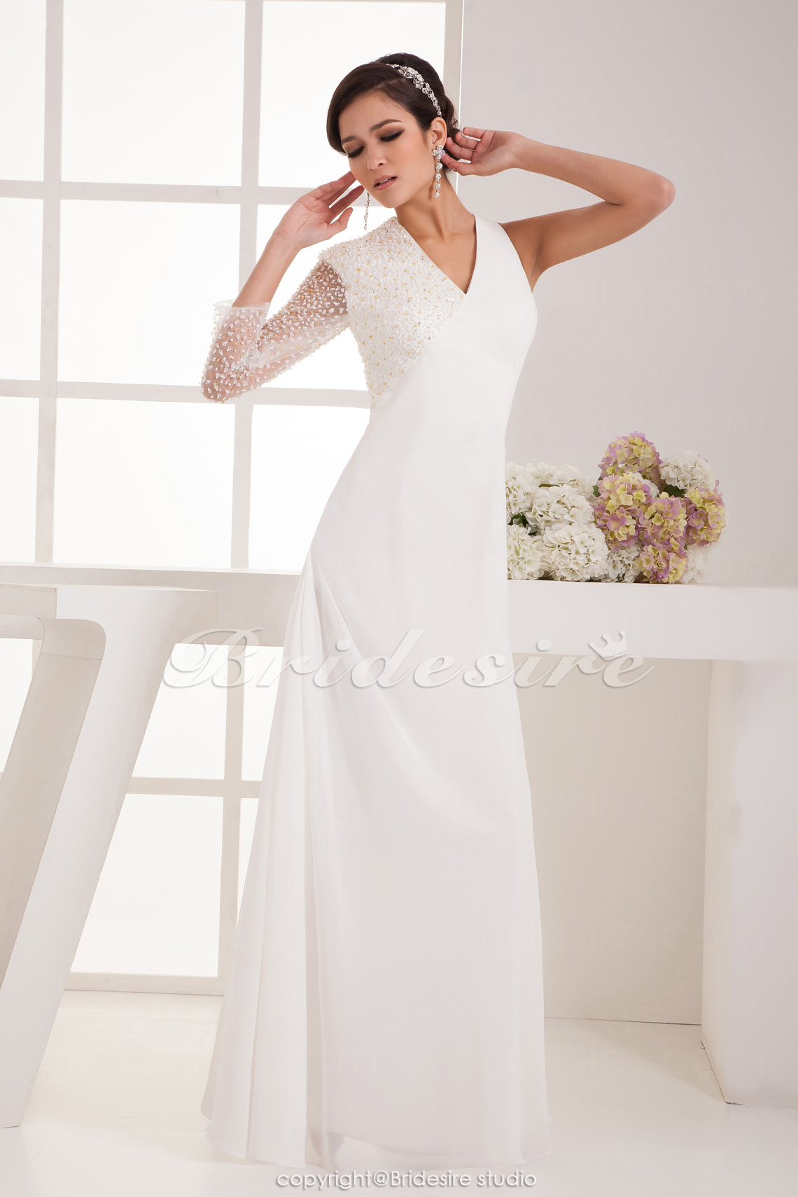 A-line V-neck Floor-length Sleeveless Satin Wedding Dress