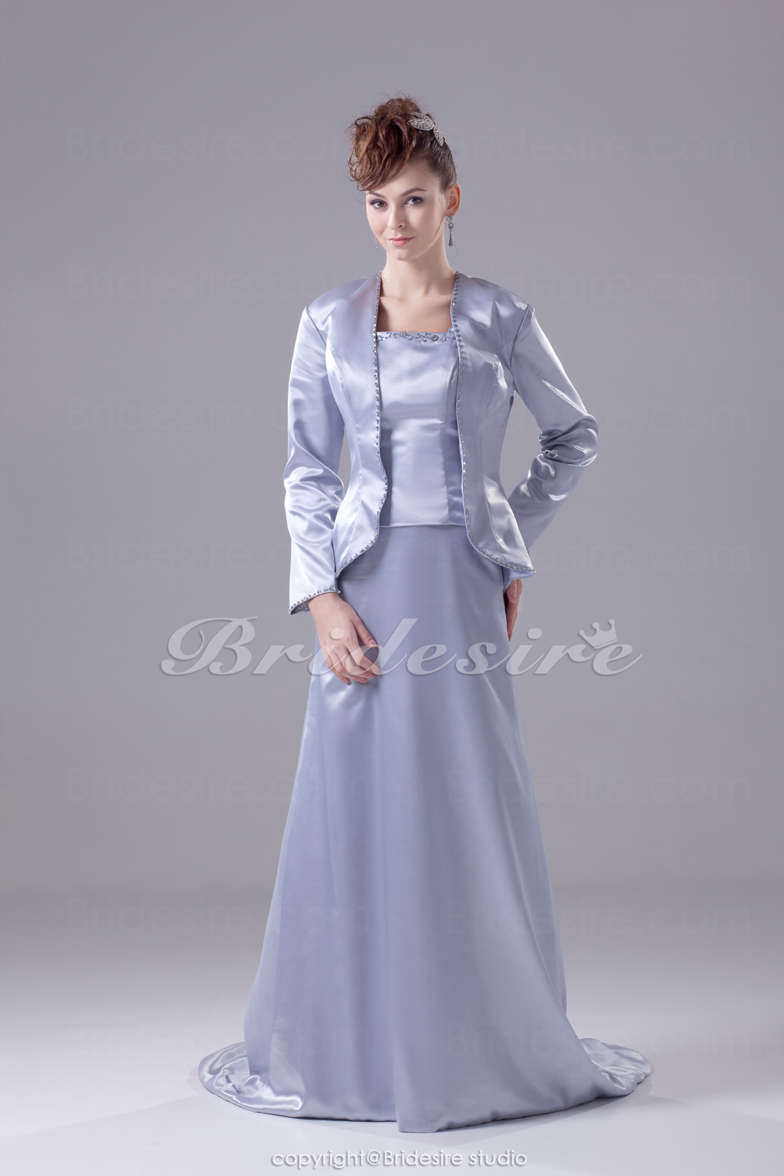 A-line Strapless Floor-length Long Sleeve Satin Mother of the Bride Dress