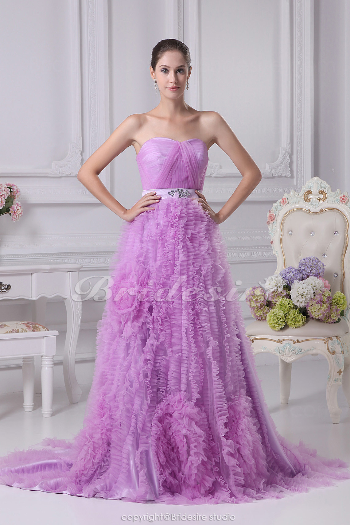 A-line Strapless Court Train Sleeveless Organza Dress