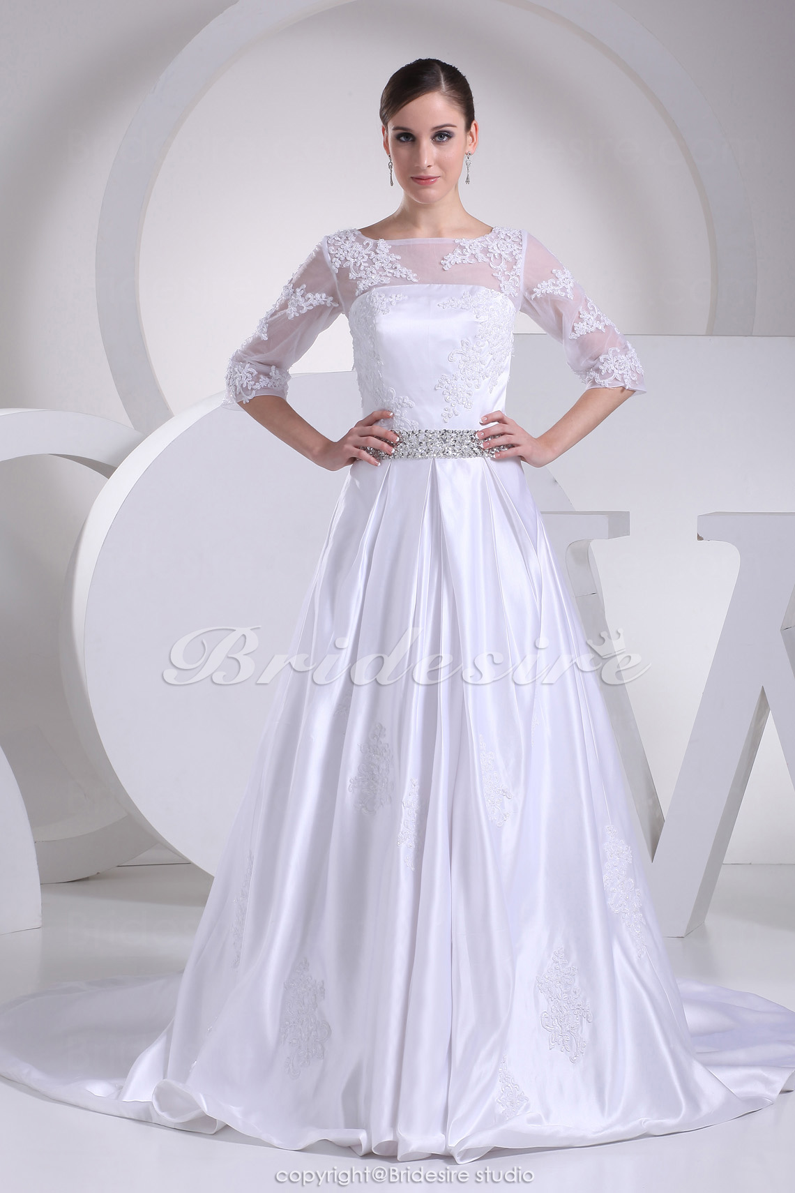 A-line Bateau Chapel Train Half Sleeve Satin Wedding Dress