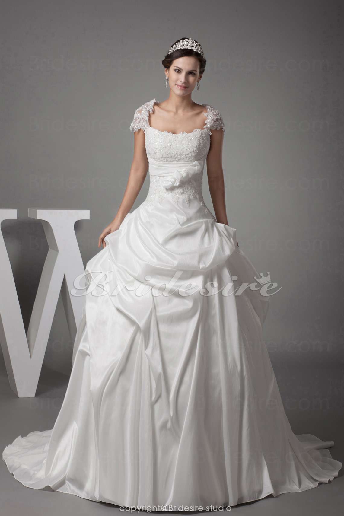 Ball Gown Square Court Train Short Sleeve Taffeta Wedding Dress