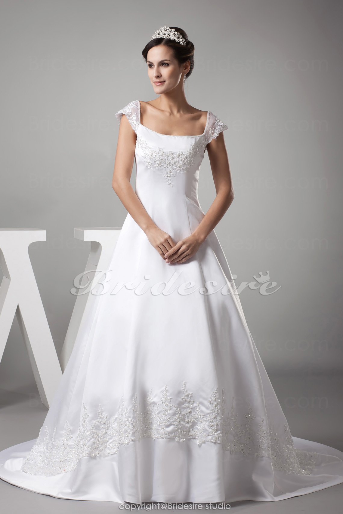 Ball Gown Square Chapel Train Sleeveless Satin Wedding Dress