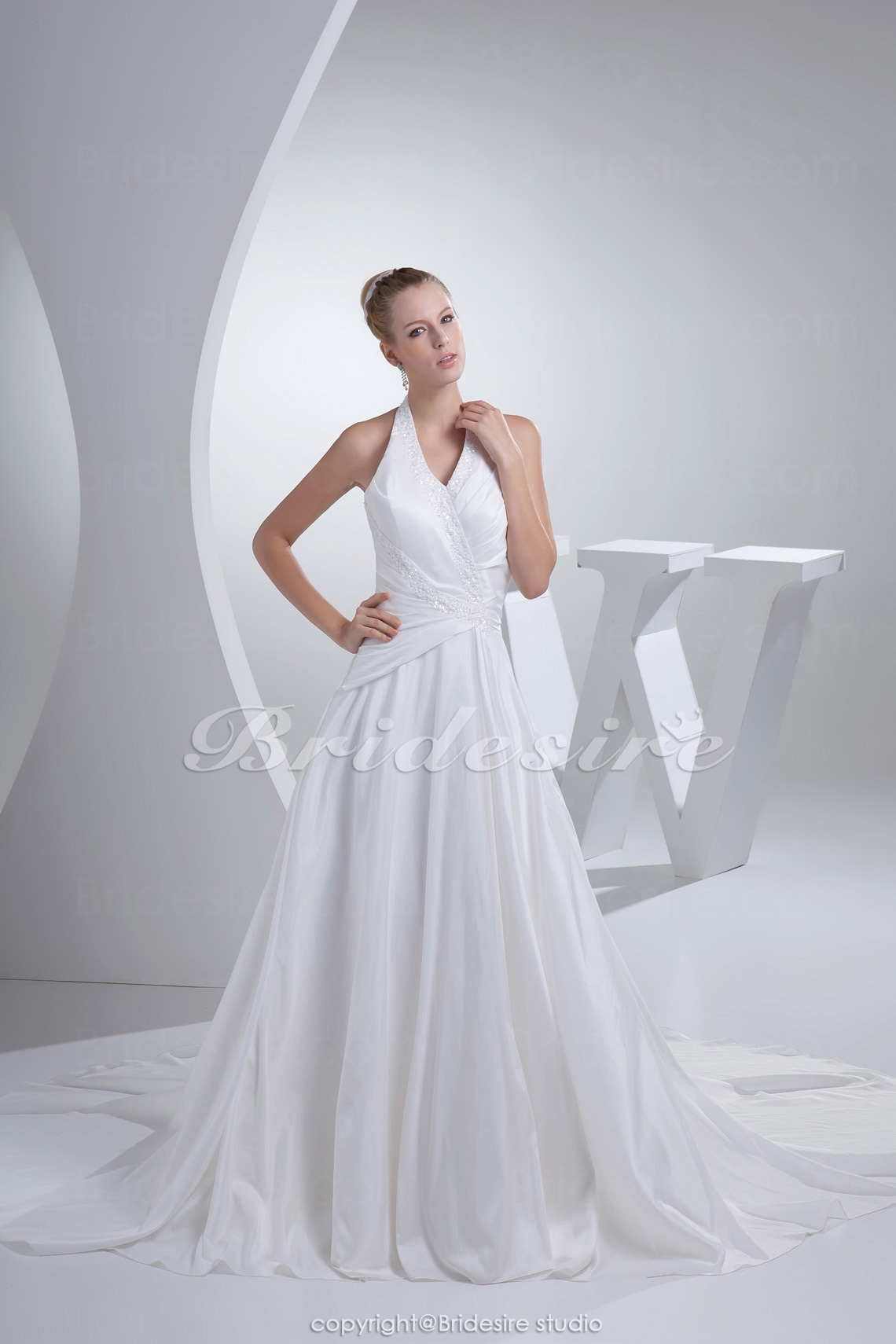 A-line Halter Chapel Train Sleeveless Taffeta Wedding Dress