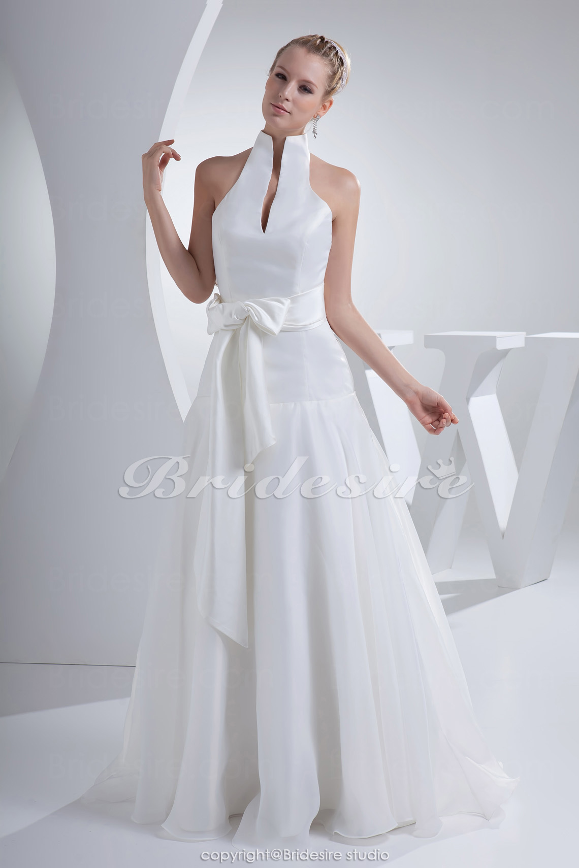 A-line Halter Floor-length Sleeveless Satin Organza Wedding Dress