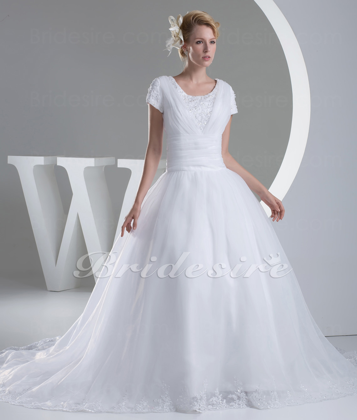 Ball Gown Scoop Chapel Train Short Sleeve Organza Wedding Dress