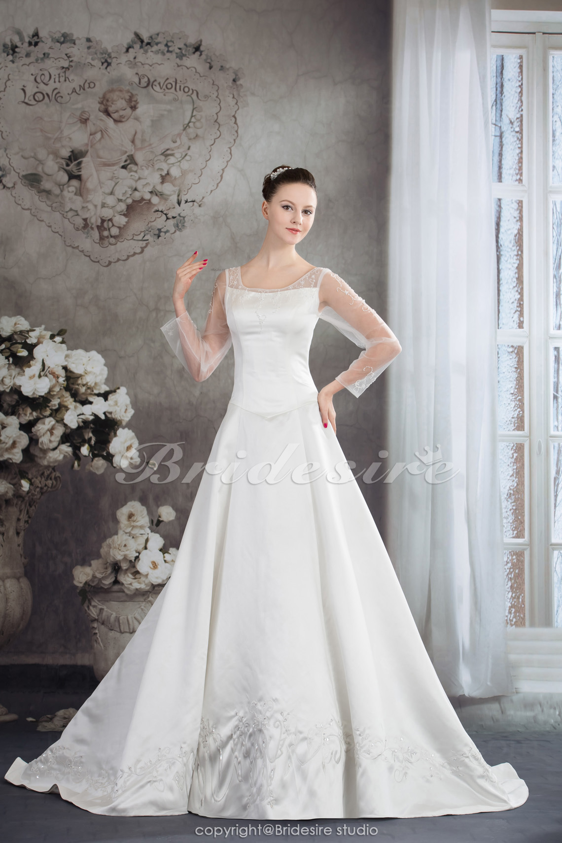 A-line Scoop Court Train Long Sleeve Satin Wedding Dress