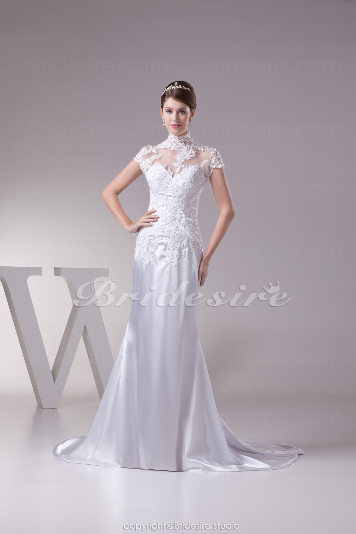 Sheath/Column High Neck Sweep Train Sleeveless Satin Wedding Dress