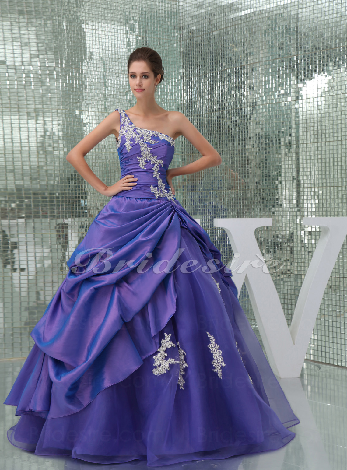 Ball Gown One Shoulder Floor-length Sleeveless Taffeta Organza Dress