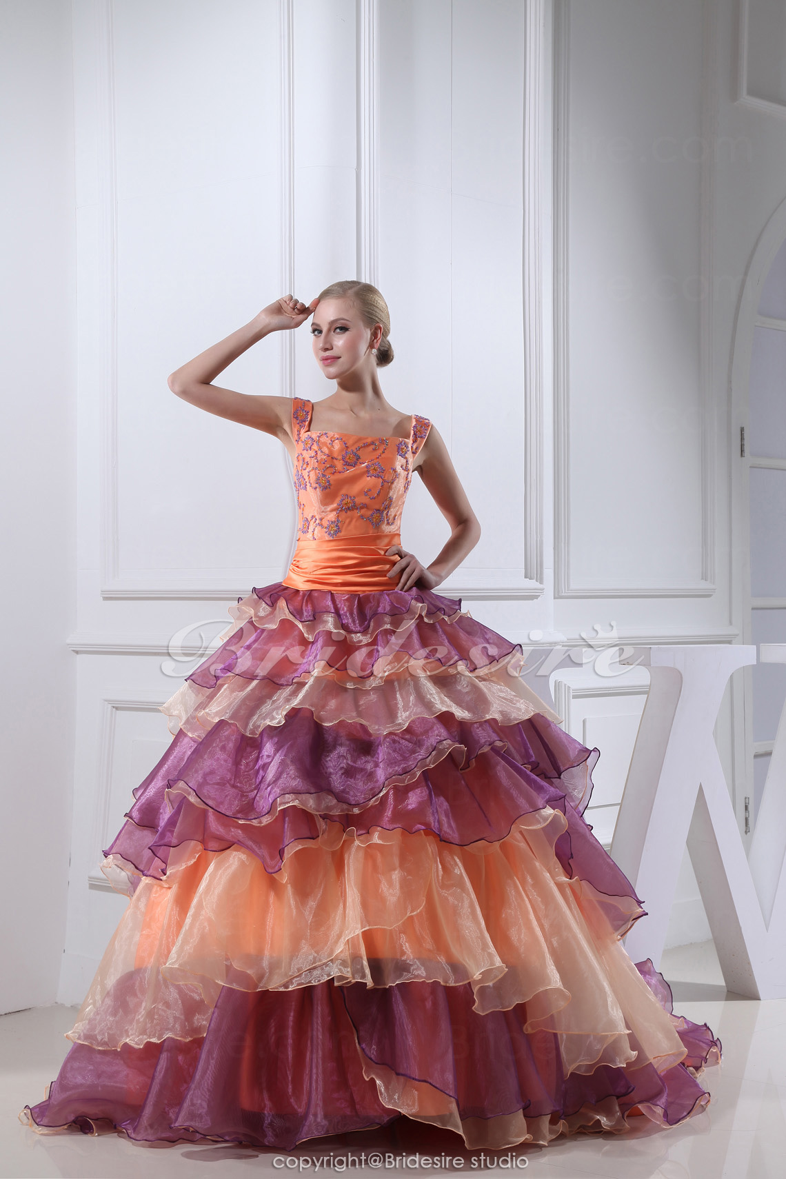 Ball Gown Straps Chapel Train Sleeveless Organza Dress