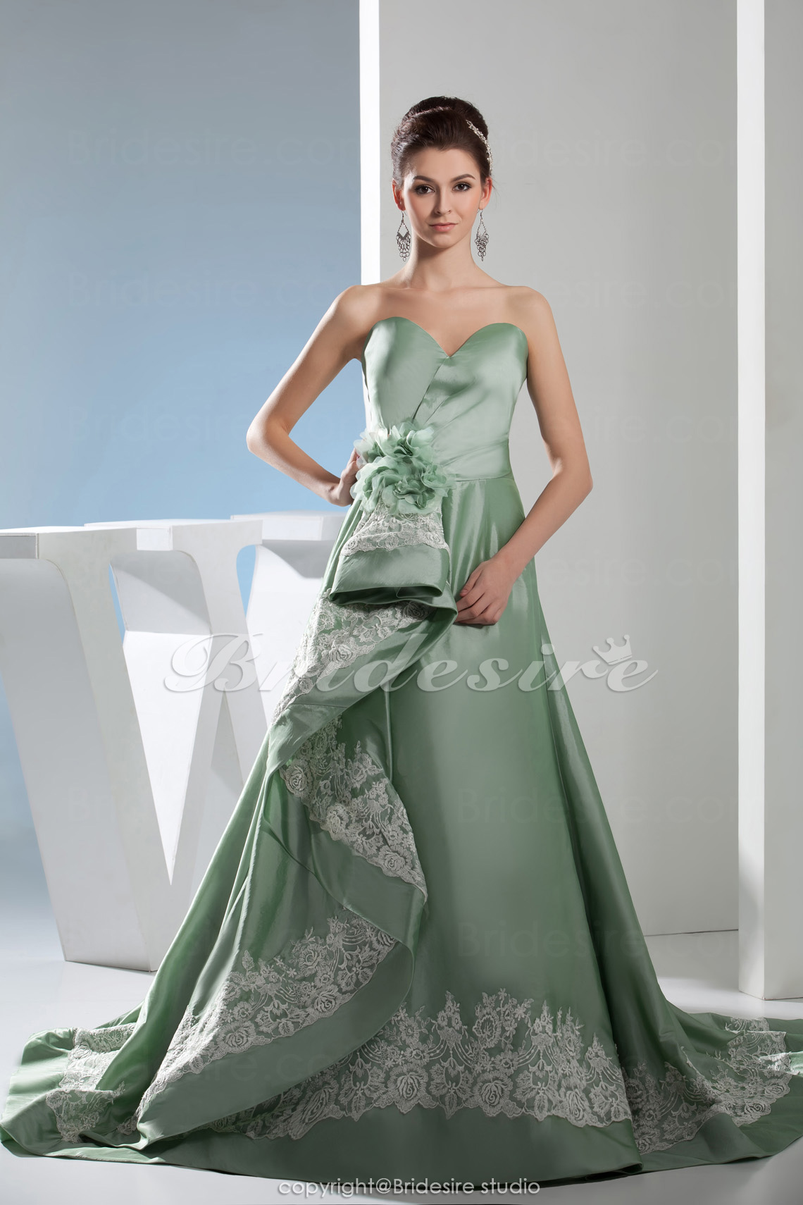 A-line Sweetheart Court Train Sleeveless Satin Dress