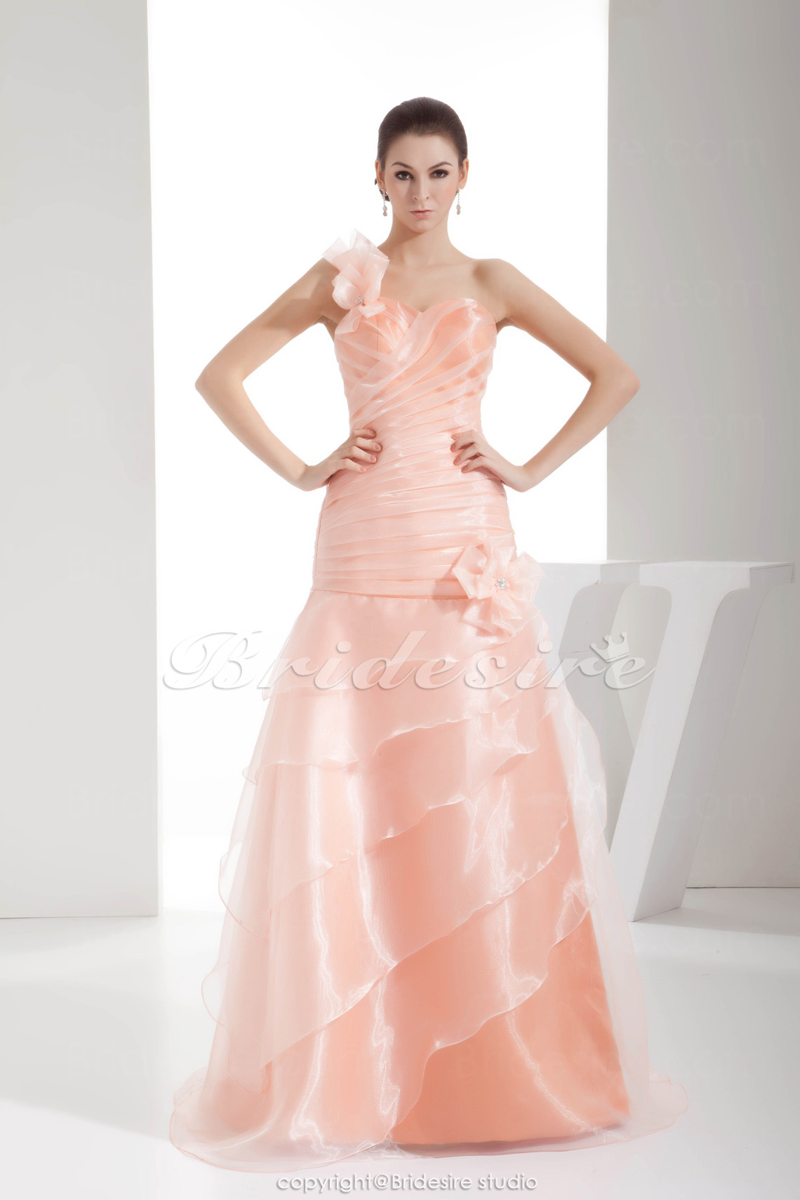 A-line One Shoulder Floor-length Sleeveless Organza Dress