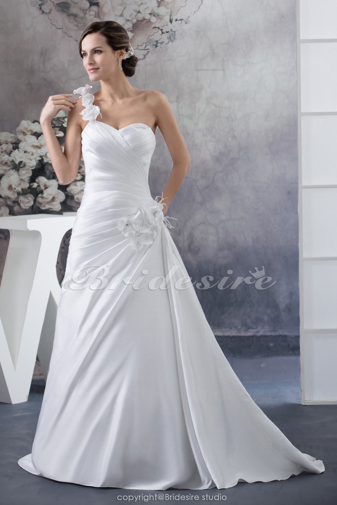 A-line One Shoulder Sweep Train Sleeveless Satin Wedding Dress