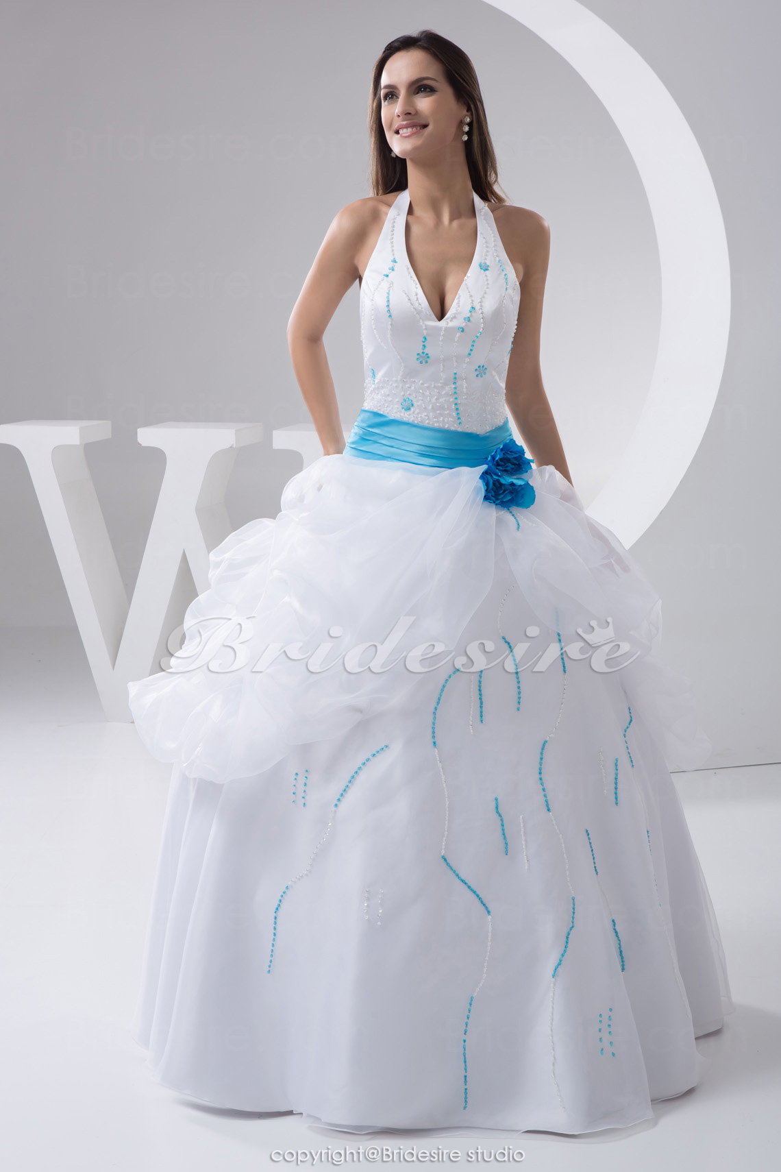 Ball Gown Halter Floor-length Sleeveless Satin Organza Wedding Dress