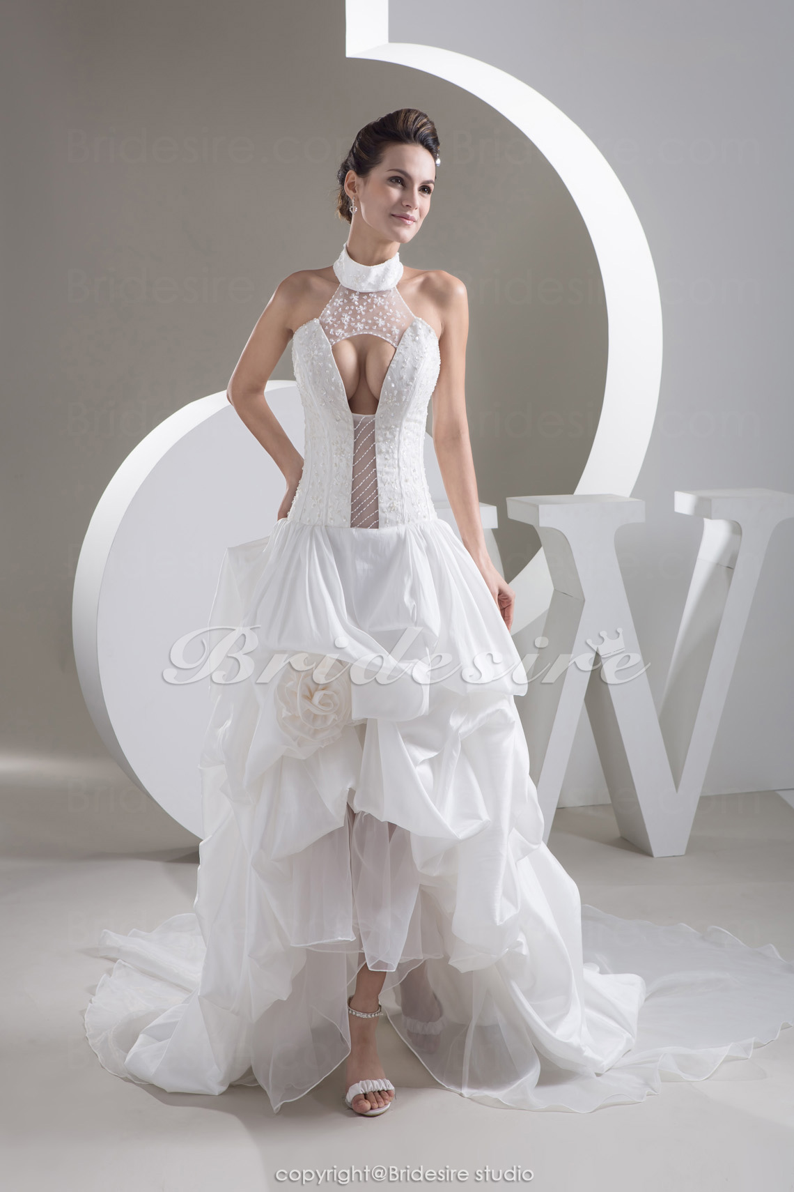 A-line High Neck Chapel Train Sleeveless Taffeta Wedding Dress