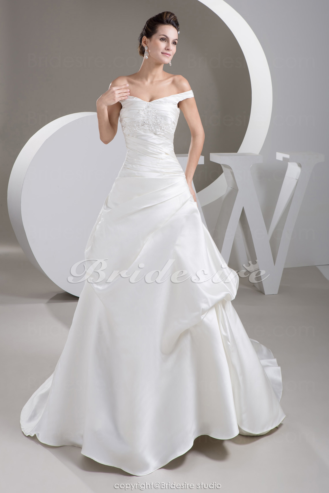 A-line Off-the-shoulder Court Train Sleeveless Satin Organza Wedding Dress