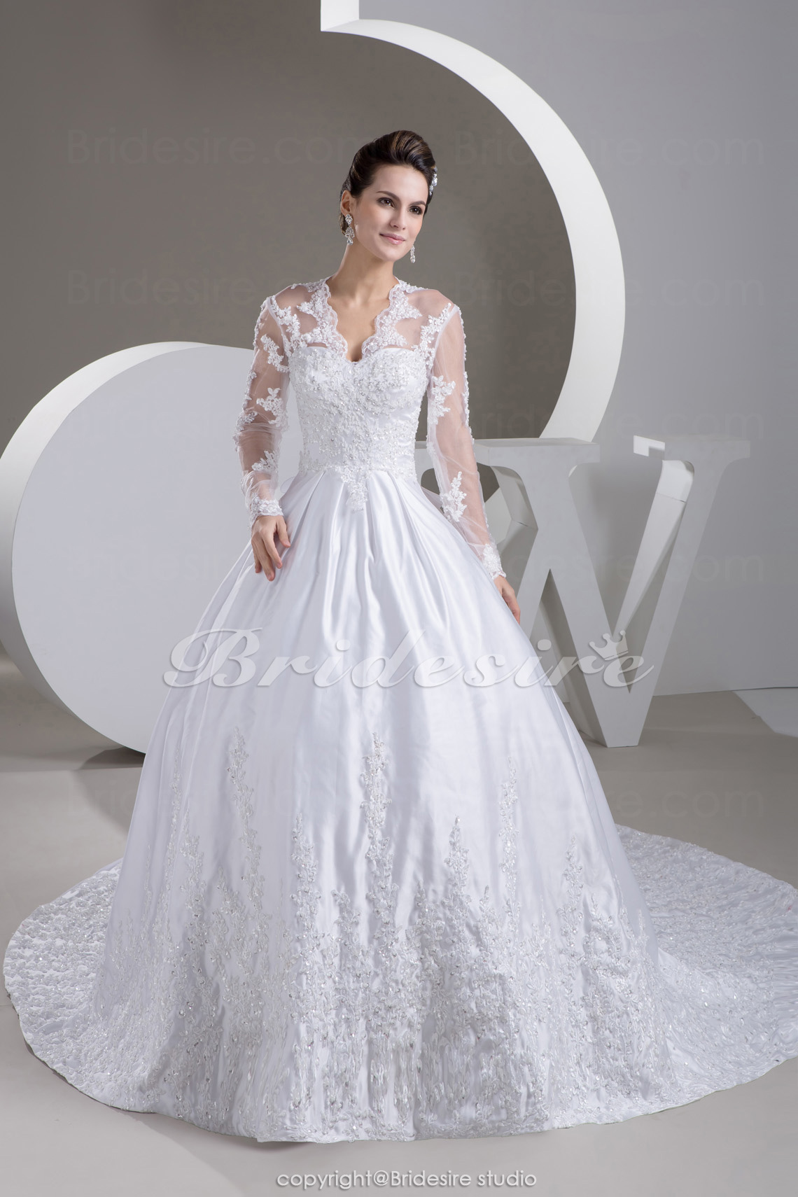 Ball Gown V-neck Chapel Train Long Sleeve Taffeta Lace Wedding Dress