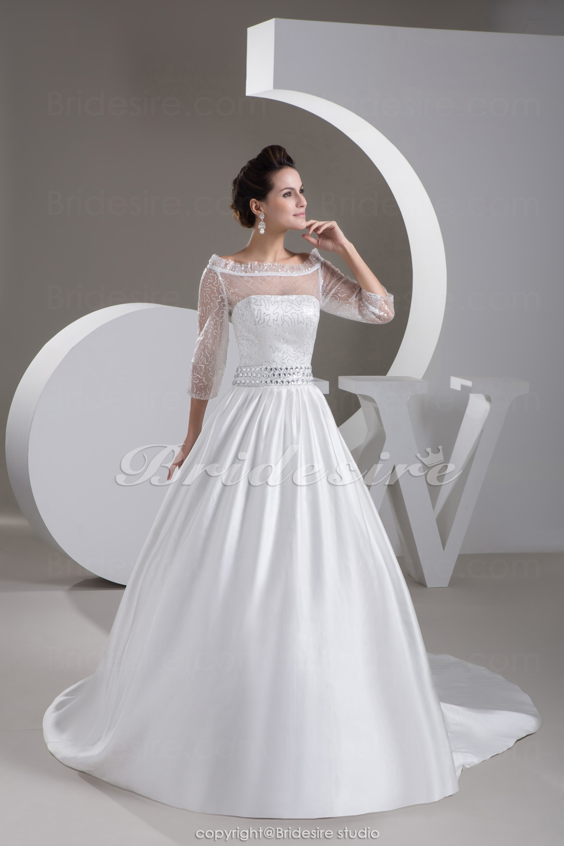 Ball Gown Off-the-shoulder Court Train 3/4 Length Sleeve Satin Tulle Wedding Dress