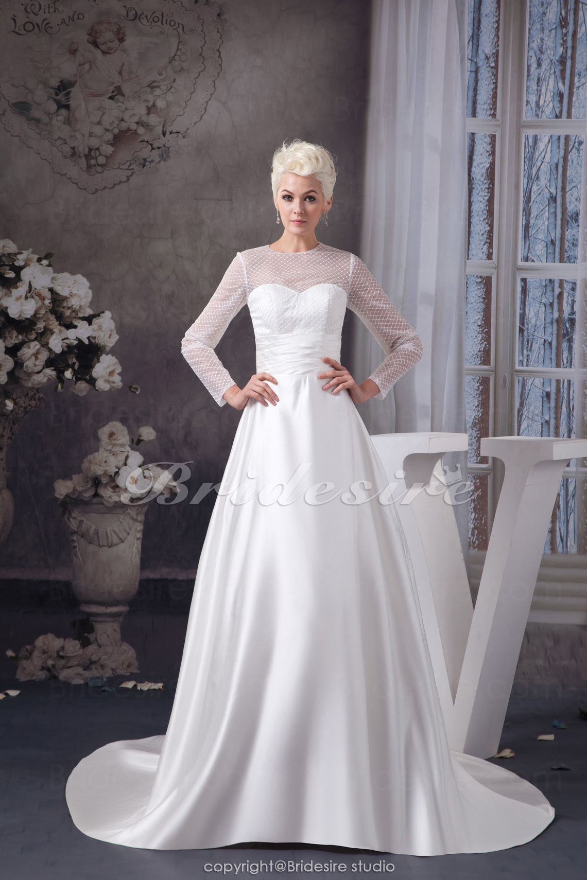 A-line Scoop Chapel Train Long Sleeve Satin Tulle Wedding Dress