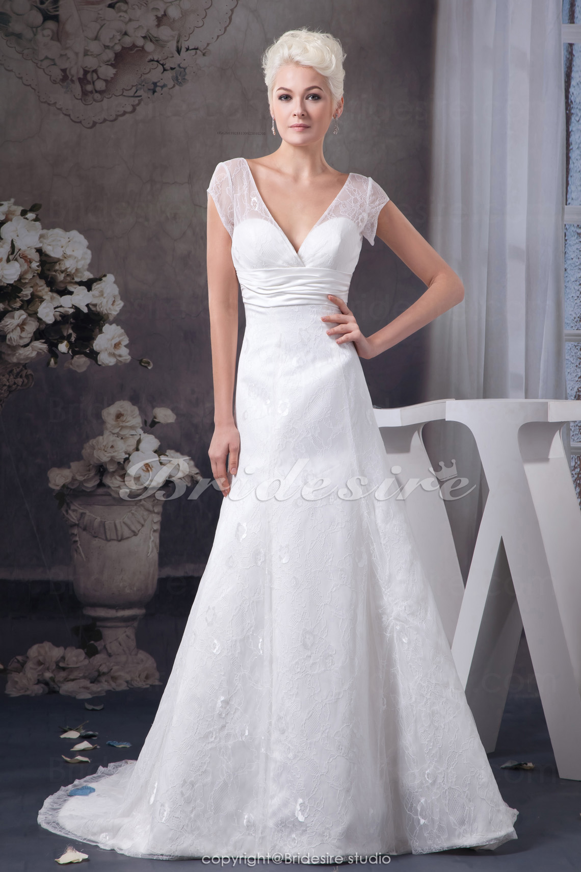 A-line V-neck Court Train Short Sleeve Lace Wedding Dress