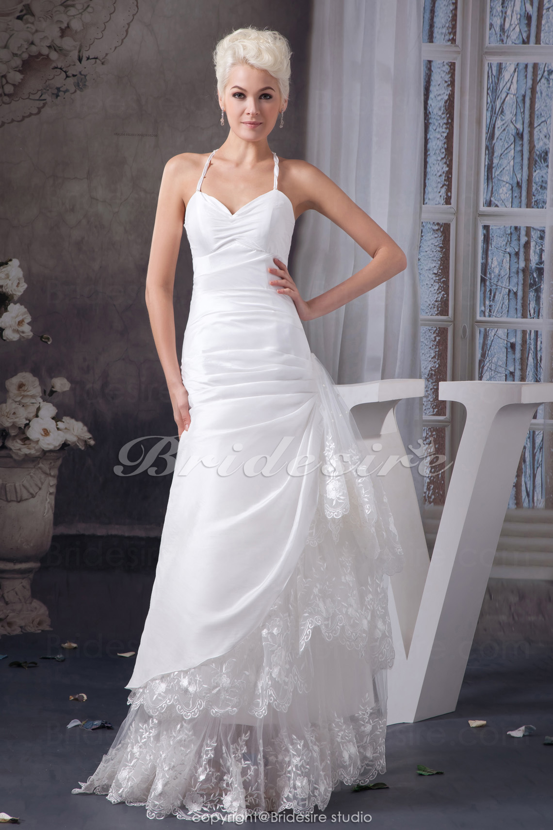 A-line Halter Floor-length Sleeveless Satin Lace Wedding Dress