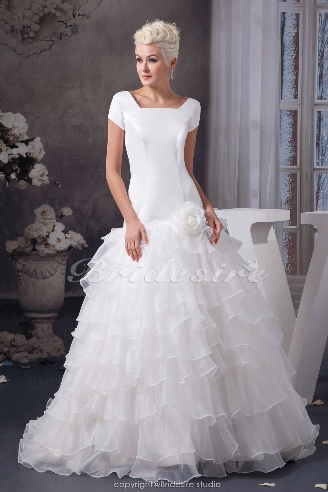 A-line Square Court Train Short Sleeve Satin Organza Wedding Dress