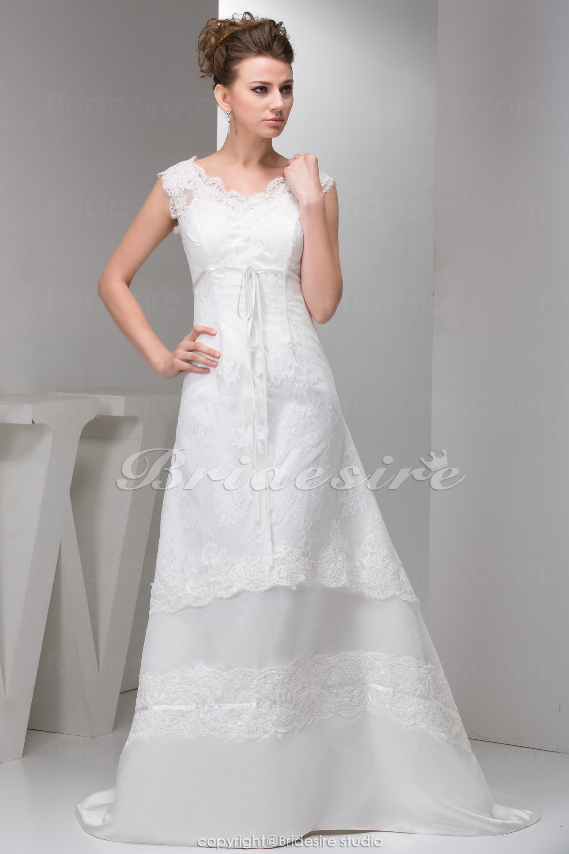 A-line V-neck Court Train Sleeveless Satin Lace Wedding Dress