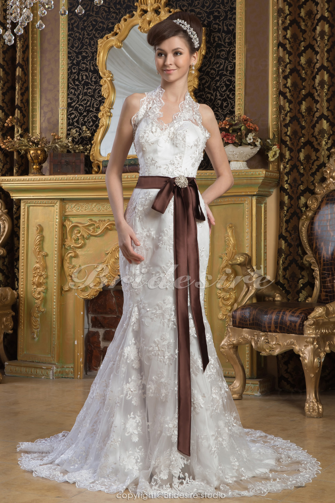 Trumpet/Mermaid Halter Floor-length Court Train Sleeveless Satin Lace Wedding Dress