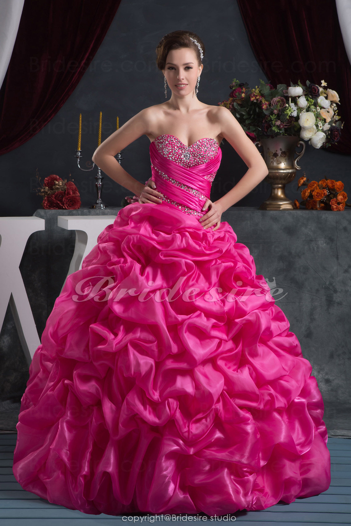 Princess Sweetheart Floor-length Sleeveless Taffeta Dress