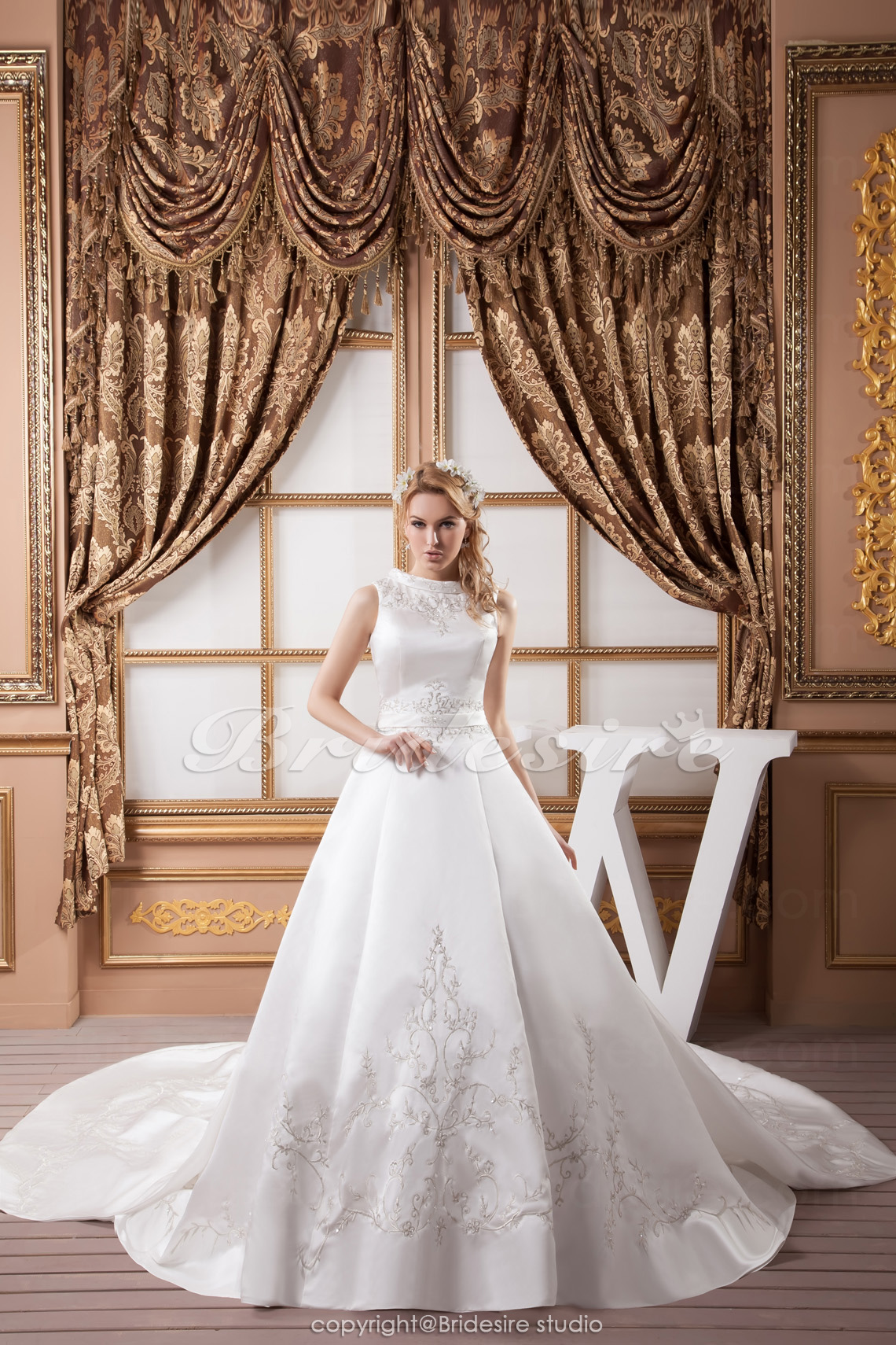 A-line Jewel Floor-length Cathedral Train Sleeveless Satin Wedding Dress