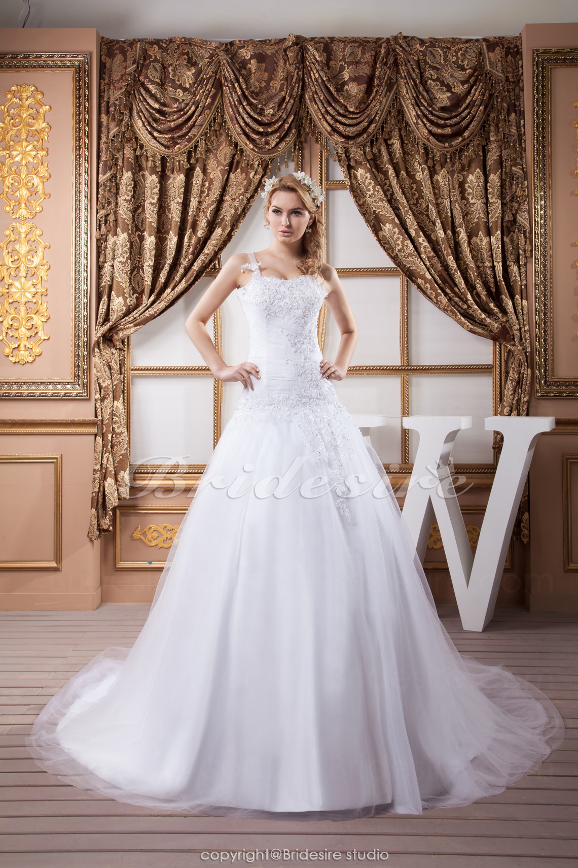 A-line Spaghetti Straps Floor-length Sweep Train Sleeveless Satin Lace Wedding Dress
