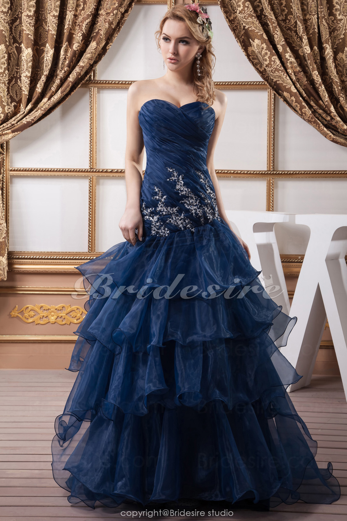 A-line Sweetheart Floor-length Sleeveless Organza Dress