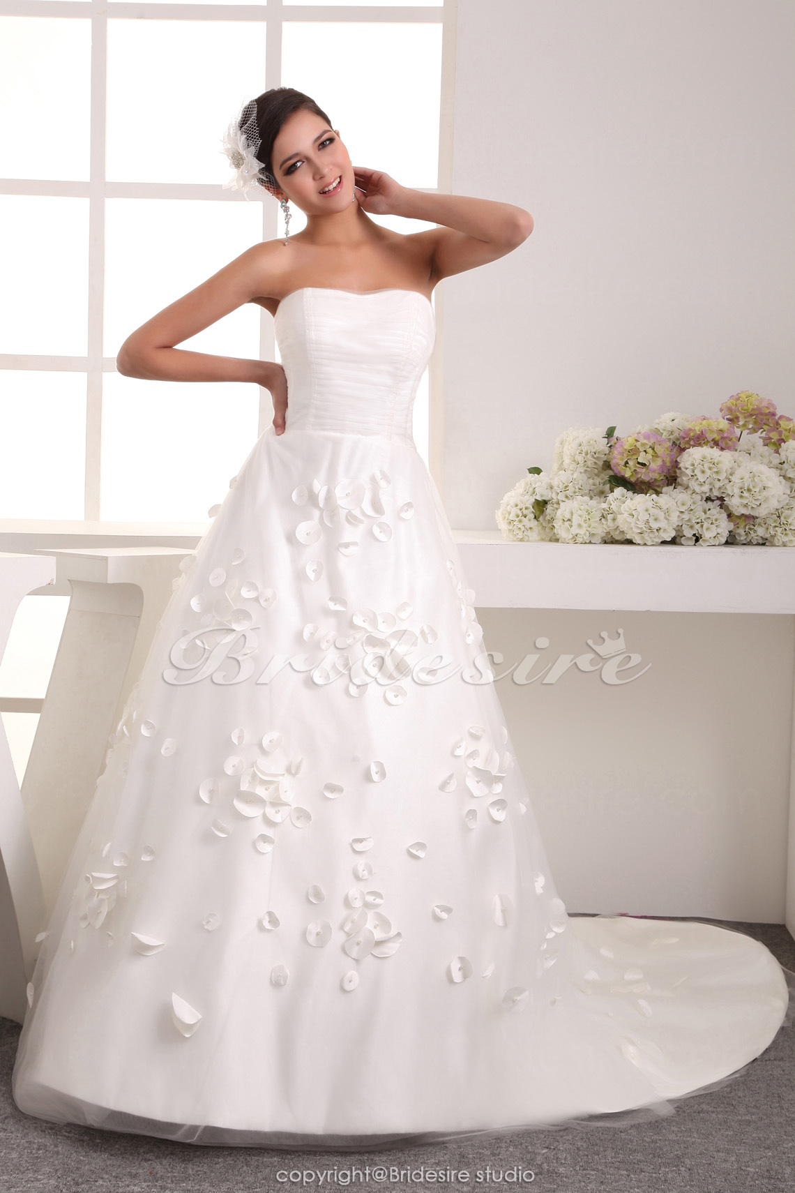 A-line Strapless Floor-length Sweep Train Sleeveless Satin Chiffon Wedding Dress
