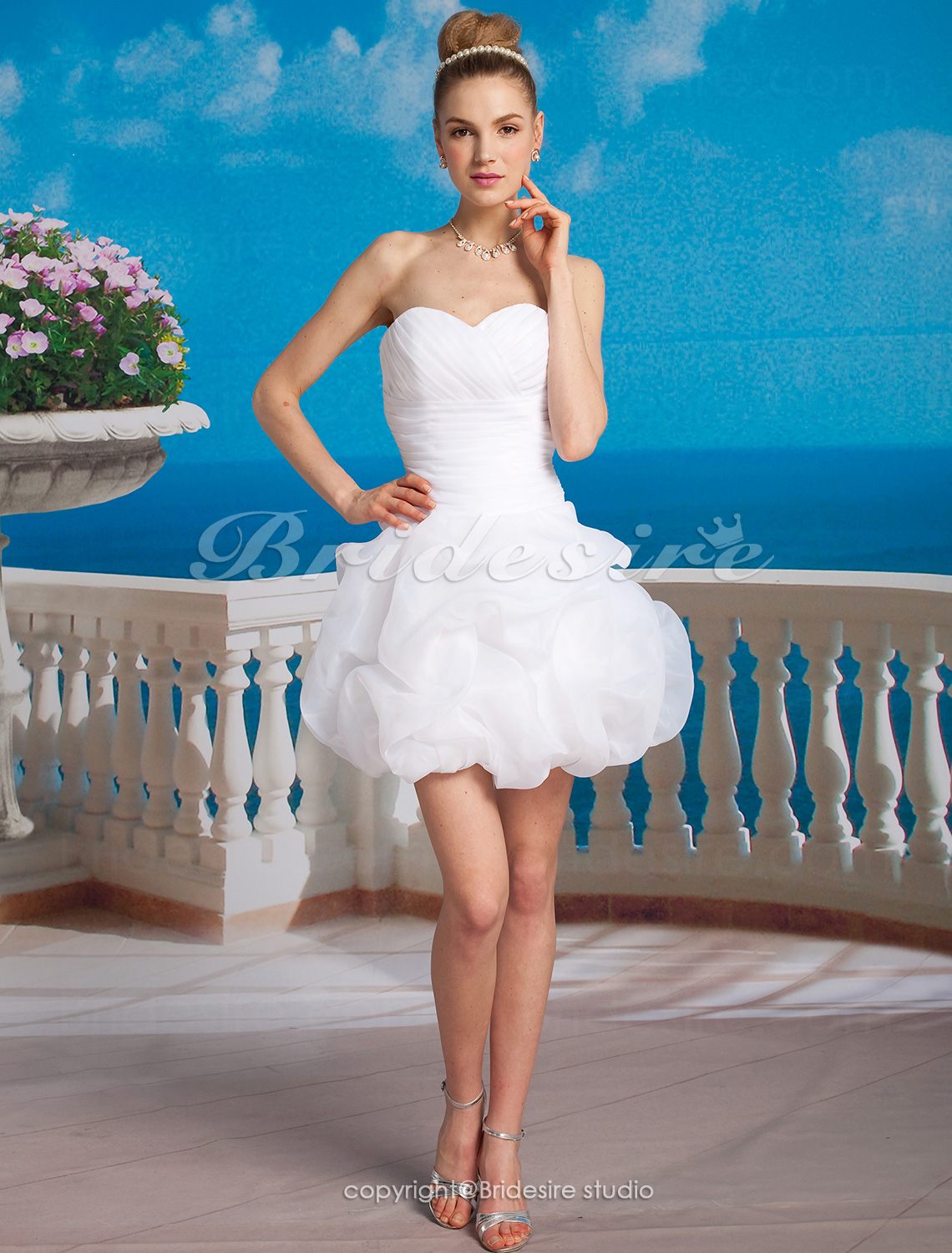Ball Gown Satin Organza Short/ Mini Sweetheart Weddding Dress
