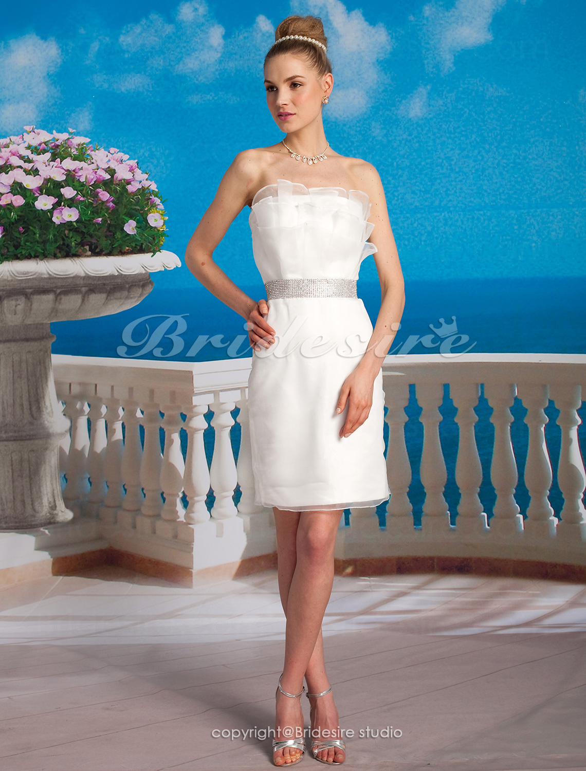 Sheath Column Organza Satin Short Mini Strapless Wedding Dress