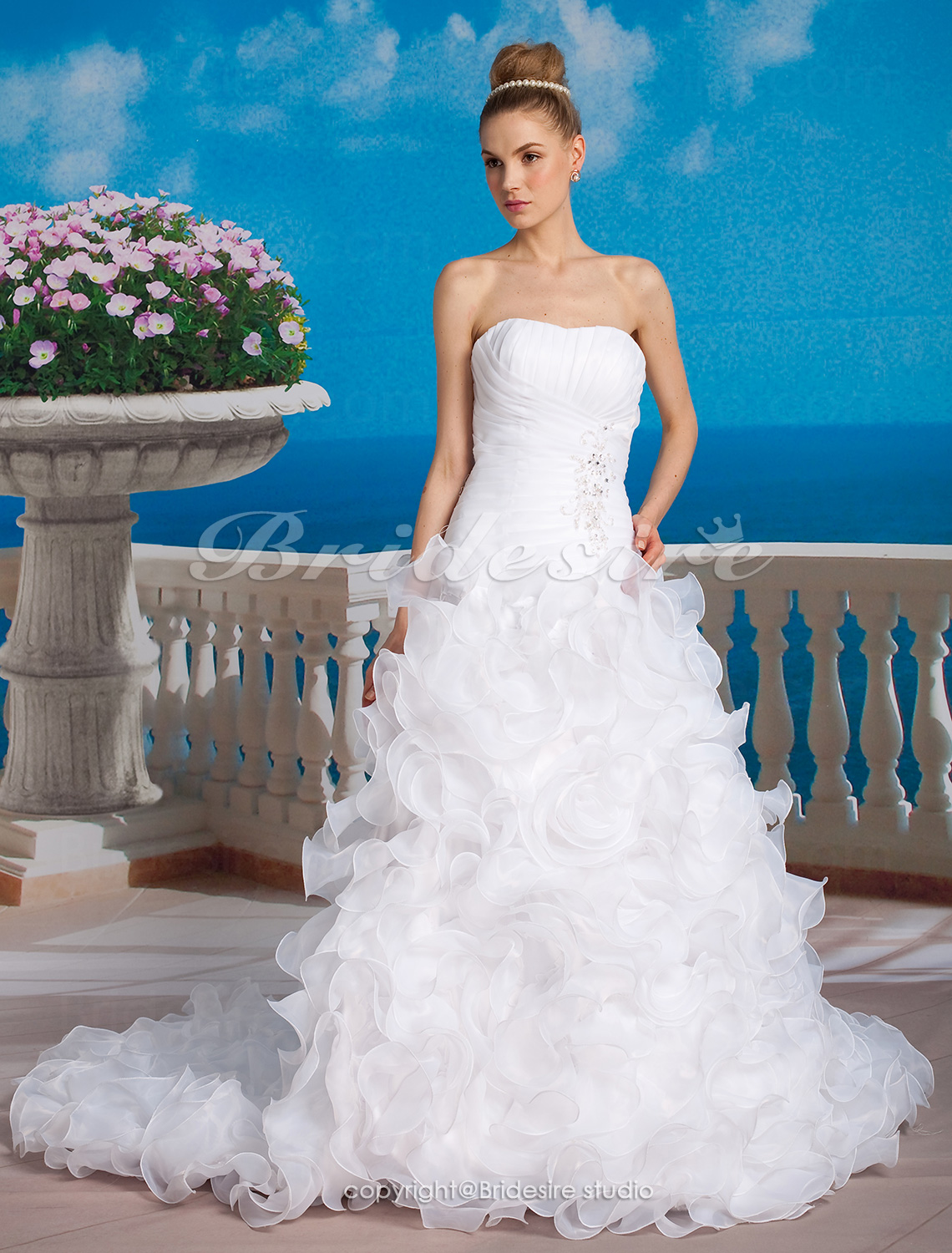 Ball Gown Organza Chapel Train Strapless Wedding Dress